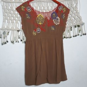 Flying Tomato tan floral embroidered mini dress